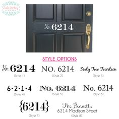 Personalized Street Address Door Decal by LolaDarlingDesigns on Etsy https://www.etsy.com/listing/194823861/personalized-street-address-door-decal