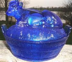 Look what I found on @eBay! http://r.ebay.com/dDZ7h5 COBALT BLUE GLASS COW IN A BASKET COVERED DISH