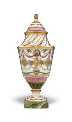 c1790 A PARIS (RUE THIROUX) PORCELAIN TAPERING URN-SHAPED VASE AND COVER  CIRCA 1790, GILT CROWNED A MARK  Price realised  USD 9,375