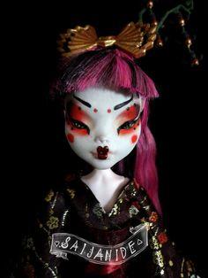 monster high doll custom repaint ooak geisha japanese by Saijanide