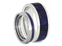 Lapis Lazuli Wedding Band Set, Women's Lapis And Titanium Ring With Men's Platinum And Lapis Ring, Matching Wedding Rings Set