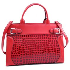 f9c4612b8aec Dasein Women s Belted Patent Leatherette Croco Embossed Stylish Tote with  Bonus Strap-Red Patent Leather