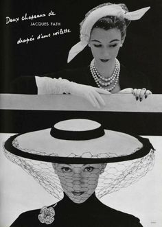 1952  House of Jacques Fath (love the triple strand of mixed pearls)