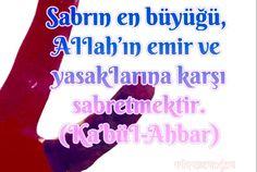 Sabrın en büyüğü, AIIah'ın emir ve yasakIarına karşı sabretmektir (Ka'büI-Ahbar)