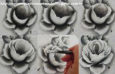 Pintura em Tecido Passo a Passo Com Fotos: Toalha de Chá Pintura em Tecido rosas negras passo a passo