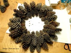 Vintage, Paint and more. Pine Cone Wreath Best Picture For DIY Wreath farmhouse For Your Taste You are looking for something, and it is going to tell you exactly what you are looking for, and you di Christmas Wreaths To Make, Holiday Wreaths, How To Make Wreaths, Christmas Tree Decorations, Christmas Crafts, Holiday Decor, Christmas Trees, Christmas Ornaments, Wire Wreath Forms