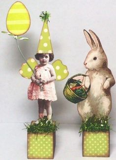 by *stella_bella* on eBay... Fairy EASTER Bunny 2 pc Hand Made Prim Mixed Media Altered Folk aRt Collage ooak
