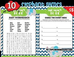 printable blue elephant baby shower games