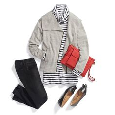 Grey jacket, black striped top, black skinny jeans, switch to black booties, red handbag