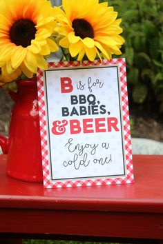Baby-Q Baby Shower Signs - BBQ Baby Shower 5x7 Signs - Set of 4 by PinkAppleParties on Etsy https://www.etsy.com/listing/534953717/baby-q-baby-shower-signs-bbq-baby-shower