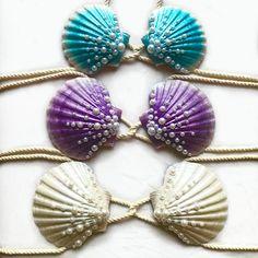 Mermaid Clamkini - Swimmable Mermaid Bra Top - Any Color - Seashell Bikini - Seashell Bra - Mermaid Bikini Top - Ariel Shell Bra Mermaid Top, Mermaid Swimsuit, Seashell Bikinis, Shell Bra, Silicone Mermaid Tails, Colored Rope, Mermaid Swimming, Pearl Design, Bra Styles
