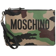 Moschino Women Camo Printed Leather Pouch W/ Logo (1558025 PYG) ❤ liked on Polyvore featuring bags, handbags, clutches, camouflage, camouflage handbags, leather pouch, brown leather purse, moschino purse and camo purses