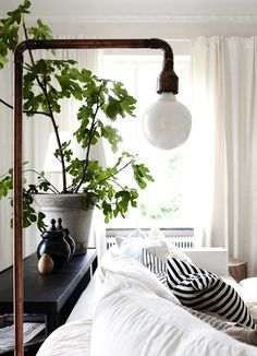 Amber Interior Design: Make this floor lamp. Interior And Exterior, Interior Design, Amber Interiors, Living Spaces, Living Room, Deco Design, Home And Deco, Scandinavian Design, My Dream Home