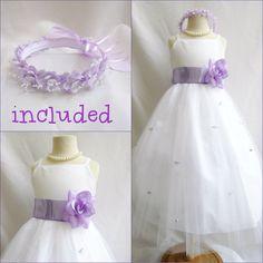26.49$  Buy here - http://vivit.justgood.pw/vig/item.php?t=2wvnw3q49830 - Lovely White/lilac iris tulle wedding flower girl dress FREE HEADPIECE all sizes 26.49$