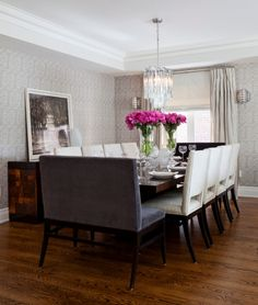 Transitional-Dining-Room-with-a-low-wooden-dining-table-for-white-wooden-seater-. - Transitional-Dining-Room-with-a-low-wooden-dining-table-for-white-wooden-seater-chairs-idea-with-tw - 12 Seater Dining Table, Modern Dining Room Tables, Wooden Dining Tables, Dining Table Design, Dining Room Chairs, Dining Rooms, Dining Sets, Small Dining, Round Dining