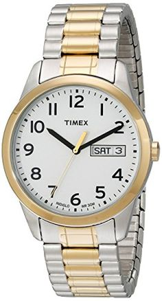 silver bands two tones and watches timex mens t2n063 elevated classics two tone stainless steel watch expansion band