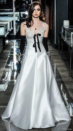 reem acra spring 2018 bridal sleeveless v neck heavily embellished bodice satin skirt elegant glamorous a  line wedding dress short train (04) mv -- Reem Acra Spring 2018 Wedding Dresses
