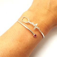 Nurse Registered Heart Beat Stethoscope Bracelet, EKG, ECG, Practitioner, RN Nurse Gift, lpn, bsn, Nursery Graduation Gift, hospital gift