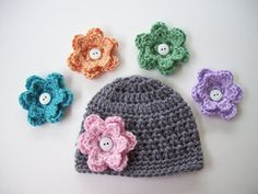 Baby Girl Choose 5 Flowers Baby Hat Crochet Baby by CarolinaHats