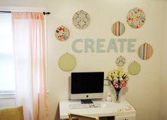Embroidery Hoops Wall Art #craftroom