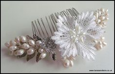 Bespoke Lace and pearl bridal hair comb via TiarasAndTeirs. Click on the image to see more!