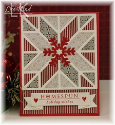 Stamps:  Love Lies Here Holiday (PTI) Paper:  Vintage cream, riding hood red, Jingle dp (Lilybee Design) Ink:  Riding hood red Accessories:  Quilt square coverup plate (MFT), Let it snowflake (MFT), Folded banner (SSS)
