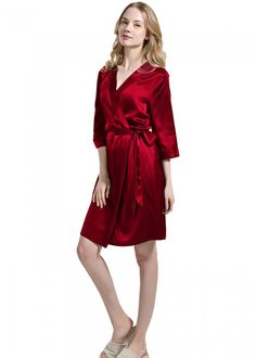 pure mulberry silk womens silk pajamas robe, lasting every night with luxury sheen and ultimate comfort while keeping your sleep or bathrobe time warm! Silk Chemise, Silk Nightgown, Silk Kimono Robe, Silk Sleepwear, Silk Pajamas, Sexy Dresses, Kimono Dressing Gown, Silk Bedding, Bedding Sets