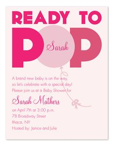 Baby Girl! Ready to Pop - Baby Shower Invitations by Invitation Consultants. (Item # IC-RLP-943 )