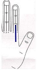tratamiento del dolor espalda a través Sujok 2 La terapia del color  Yang lado del dedo índice dibujar banda de color azul oscuro de espesor de Neutro una articulación a base del dedo.