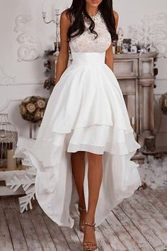 Sleeveless Lace Asymmetrical White Mini Dress