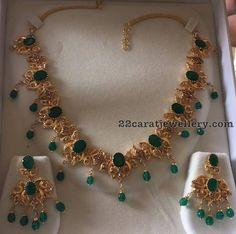 Emerald Uncut Diamond Set 58 Grams - Jewellery Designs
