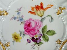 Antique Porcelain Bowl Plate Meissen Germany Hand Painted Flowers | eBay