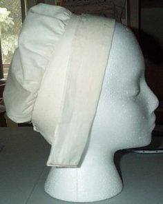 """Simple sewing tutorial: The Northern Coif, a historical European style of woman's headcovering to be worn alone or under a bonnet. Tutorial by missa on www.sempstress.org, 22 August 2009. Though this millinery is appropriate for wear for some reenactments ranging from 1500s-1800s, I believe it nearly matches the headwear worn by female kitchen staff in late-Victorian to 1920s era BBC dramas, including """"Downton Abbey"""" and """"The Duchess of Duke Street."""" #hat #muslin #linen #bonnet #cap #maid…"""