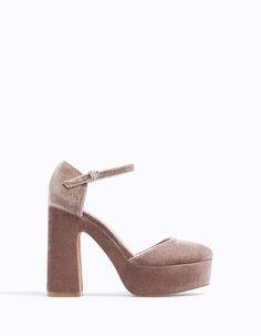 Velvet platform sandals - All | Stradivarius Romania