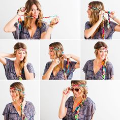 Take a headband that wraps and braid it right into your hair.