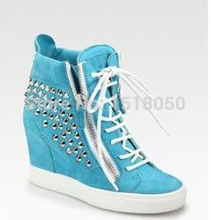 designer sky blue suede rivets high top sneakers 2015 lace-up wedge sneakers platform height increasing casual shoes