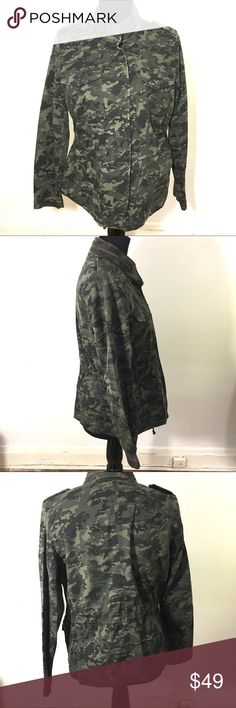 A.n.a camo jacket A.n.a camo jacket, zips up and has a snap button closure, pockets, size Large petite a.n.a Jackets & Coats