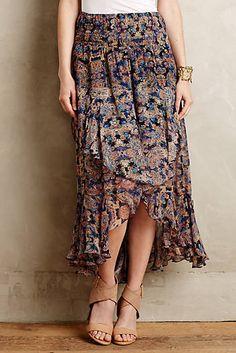 Ruffled Silk Midi Skirt