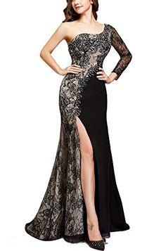 03dff33d60 Amazon.com  Butmoon Women s Formal One Shoulder Long Side Split Evening  Gowns Black US0  Clothing