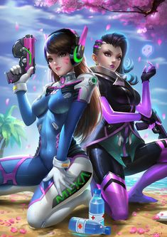 A Dva-sombra day Cedit artis Overwatch Drawings, Overwatch Fan Art, D Va Cosplay, Overwatch Females, Collage Des Photos, Overwatch Wallpapers, Ninja Girl, Cool Animations, Chica Anime Manga