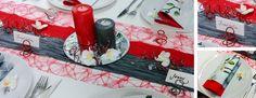 Tischdekoration in Rot und Grau