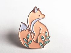 Fox Enamel Pin : Illustrated Cute Animal Lapel Pin by NinaStajner
