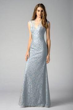 dove and slate blue Watters Maids Dress Ezra
