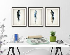 Blue Feather Print Set Of 3 - Watercolor Feathers Wall Art Print - Modern Home Decor - Bird Feather Poster - Watercolour Painting Art