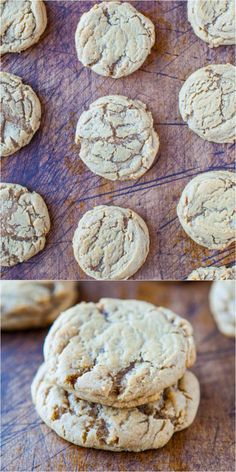 These look delicious! Soft and Chewy Brown Sugar Maple Cookies - Two types of brown sugar and maple syrup give these soft, buttery cookies an incredible caramely flavor! Crinkle Cookies, No Flour Cookies, Cheese Cookies, Spice Cookies, Sugar Cookies, Köstliche Desserts, Delicious Desserts, Yummy Food, Cookie Flavors