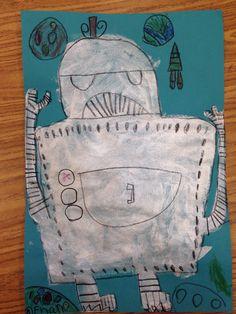 Robot art lesson for first grade
