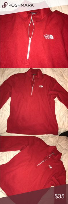 Men's North Face Glacier 1/4 Zip Pullover Fleece Color: Red, Size: Medium, Men's, perfect condition, FLEECE North Face Jackets & Coats
