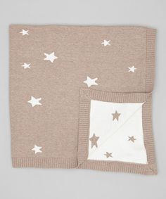 Look what I found on #zulily! Beige & White Star Knit Stroller Blanket by Piccolo Bambino #zulilyfinds