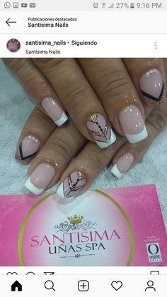 Ideas For Nails Sencillas Puntos French Nail Designs, Nail Art Designs, French Manicure Nails, Glow Nails, Polka Dot Nails, Fancy Nails, Nail Decorations, Nail Colors, Beauty Hacks
