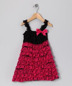 Take a look at this Hot Pink & Black Lace Ruffle Dress - Infant, Toddler & Girls by Diva Daze on #zulily today!